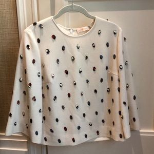 Tory Burch off-white silk top with embellishments